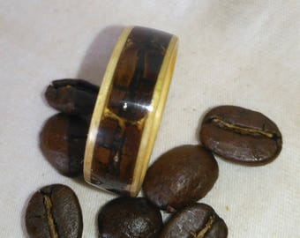 Wood Ring Coffee Beans and Yellow Pine Bentwood Ring, Band, Bands, Jewelry, Wooden Jewelry, Anniversary, Rings, Non metal