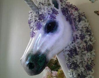 Ooak customised handpainted unicorn head wall mount faux taxidermy sculpture  art