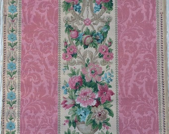 REDUCED 4.00 per yard.  Late 19th Century 1800s Wallpaper Fruit Flowers Urn Needlepoint Canvas Pattern