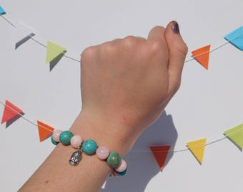 """Turquoise and Pink """"Buddha"""" Bracelet, stretchy, cute, and calming (Small Wrist) ALL profits go to CHARITY"""