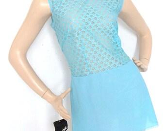 Vintage 60s Blue Lace Mini Dress undergarment Size S