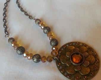 Beaded Metal Golden Necklace