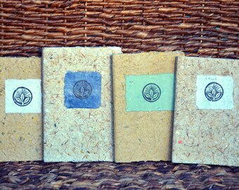 Handmade Pocket-sized Journal Made from Natural, Recycled and Repurposed Materials