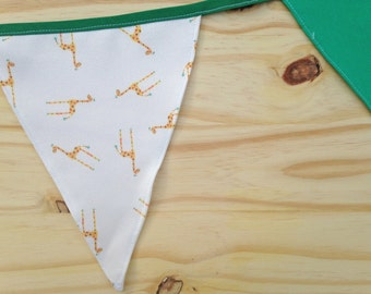 Giraffe Print Green Fabric Bunting - 2.5m