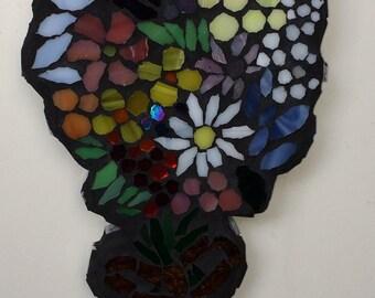 Mosaic 'Gold Ribbon Tied' Flowers  Wall Art