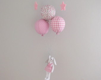 Baby mobile balloons with bunny - pink