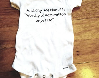 Personalized  baby keepsake name onsie