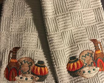 Embroidered pottery kitchen towels. Set of 2.
