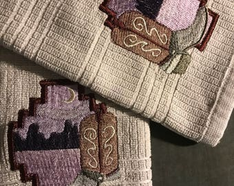 Embroidered boot & mountain kitchen towels. Set of 2.