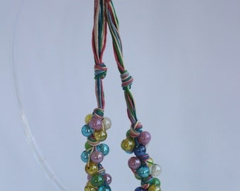 """Choker necklace """"Spring"""", in delicious pastel pink, white, green, blue and yellow."""