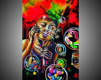 Follow your dreams mixed painting, Mixed media, Mixed media art, Mixed media painting, Colorful art, Colorful painting, Rainbow painting