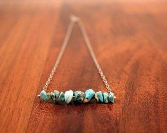 Turquoise Stone Beaded Bar Necklace on Silver Chain