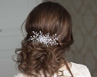 Bridal hair comb Flower hair comb Wedding Hair jewelry Pearl Wedding Hair piece Bridal headpiece Wedding accessories white pearl headpiece
