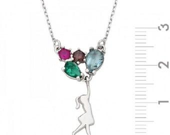 Silver Balloon Girl Necklace
