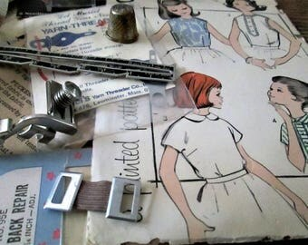Sewing Inspiration Collection 2, Vintage Sewing Assemblage Art Materials, Collage Materials