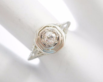 Diamond Ring, Old Mine Cut, Engagement Ring, Vintage Diamond Ring, 18k White Gold .10 CT Round Old Mine Cut Diamond Ring Sz 7.25 #1714