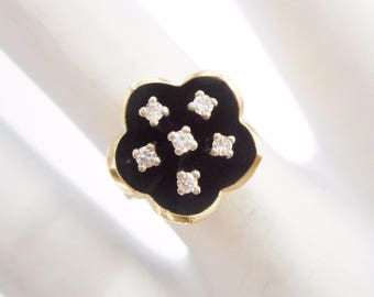 Diamond Ring, Flower Ring, Vintage Diamond Ring, Vintage Ring, 14k Yellow Gold .10 TCW Round Diamond Tulip Flower Ring Sz 5.25 #1989