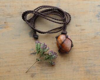 Strawberry Quartz Macrame necklace