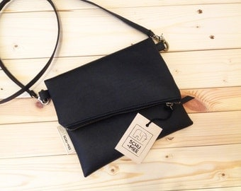 Schu-mee Clutch | Vegan Leather Clutch Bag | Modern Black Clutch Purse