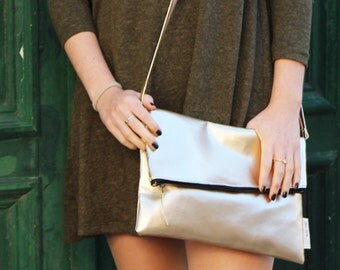 Schu-mee Clutch | Vegan Leather Clutch Bag | Modern Gold Clutch Purse