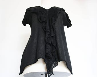 100% linen knit shirt in black | knitted summer top. Layered look shirt | Lace pattern | natural knit | natural fibre clothes