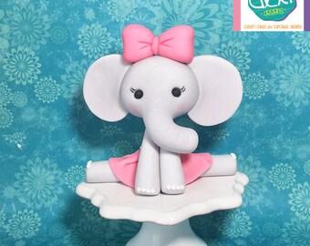 Edible Fondant Ballerina Elephant Cake Topper