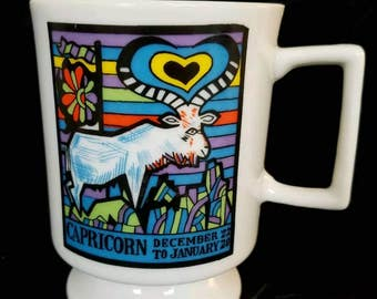 vintage Capricorn zodiac horoscope footed coffee mug tea cup