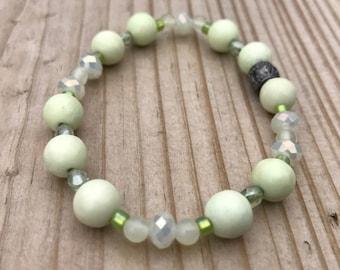 Jade, Chrysoprase, and Crystal Bracelet