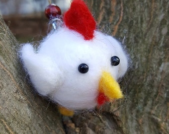Hand Felted Chicken Hanging Ornament