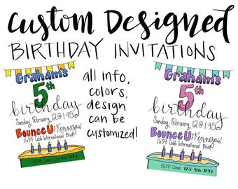 Custom Designed Birthday Invitations - Cake and Banner Design