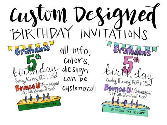 Custom Designed Birthday Invitations - Cake and Banner Design