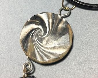 bronze swirl polymer clay necklace
