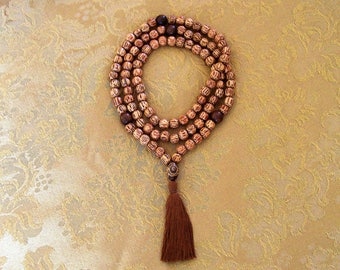 Handmade Palmwood Mala Necklace with Tiger Ebony Wooden Accents and Painted Stone Guru Bead