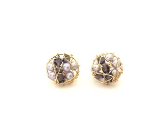 Sphere stud earrings Wrapped earrings Gold stud earrings Pearls earrings Wedding jewelry Crystal earrings Freshwater pearls Spring jewelry
