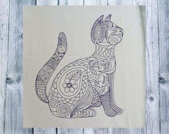 Embroidery, Zen embroidered cat, cat, 16 x 26