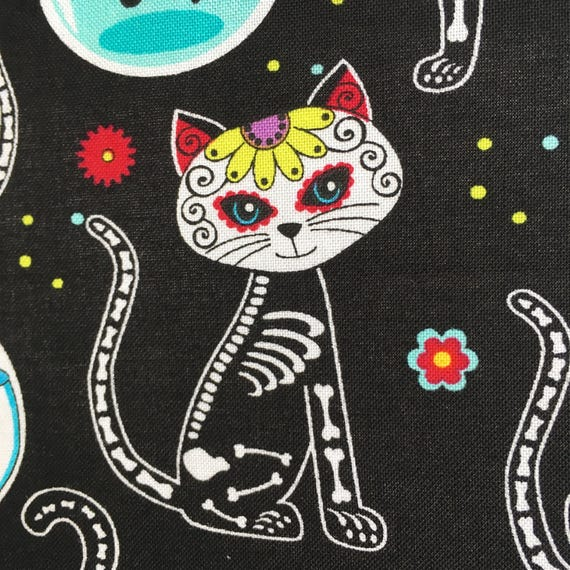 Cat Fabric Sugar Skull Skeleton Black Cat Cotton Fun