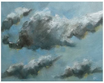 Blue Sky clouds atmosphere painting oil painting landscape oil painting on canvas piece small 25, 4x20 .3