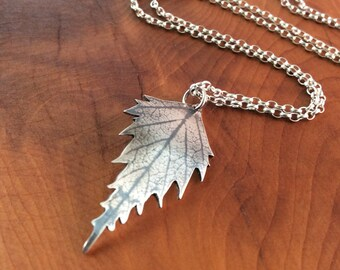 Sterling Silver Birch Leaf Pendant, Birch Leaf Printed Onto Silver, Birch Leaf Jewellery, Silver Birch Leaf Jewelry, Woodland Inspired.