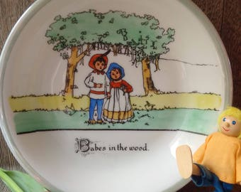 CZECHOSLOVAKIA CHILDREN'S BOWL, Vintage former Czech Republic cute plate, Babes In The Wood Eastern European colourful and sweet retro dish