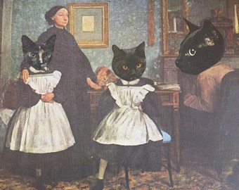 8x10 Degas Parody Giclee Print Kitty Cat Feline Family
