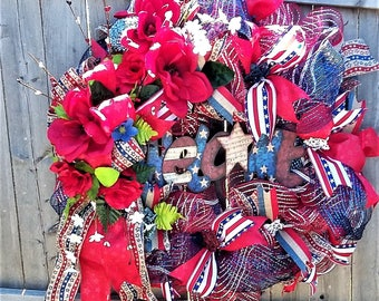 Patriotic  Welcome Wreath, 4th of July Wreath, Memorial Day Wreath, Welcome Wreath, Summer Wreath, Labor Day Wreath, Patriotic Door Hanger