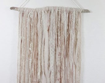 Shabby Pink Fiber Art Wall Hanging from Hand Spun Yarn Nursery Decor
