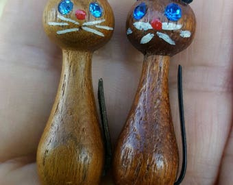 Pair of Teak Wood Cat Pins from Denmark