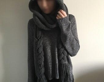 knitted scarf, comforter, shawl, hood, wrap, hooded, cape, cover, cowl, chunky hood, women's hood, gray hood, dark grey, light grey,