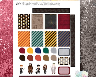Harry Potter Printable Planner Stickers Kit. EC  Wizard functional Set, Banners Titles Icons, Decorative Sticker Set