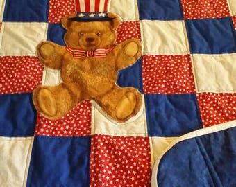 Patriot quilt with Teddy Bear
