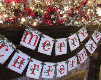 Merry Christmas Banner/Garland/Happy Christmas/Holidays/Red and Green/Winter/Handmade/Party Decoration/Photo Prop/Christmas Decoration
