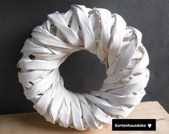 Wreath * bark * 33cm / white-washed