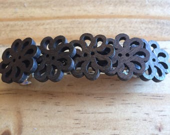 Flower wood hair clip
