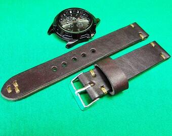 Handmade Watch Strap Dark Brown Horween Leather 24mm, 22mm, 20mm, 18mm, Unisex watch strap,  Leather watch strap 035
